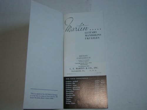 1974 Martin Catalog, 1937 Reprint (32 Pages)