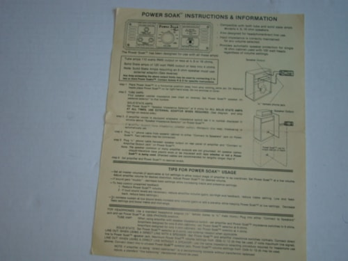 1982 Tom Scholz Power Soak Instruction Guide