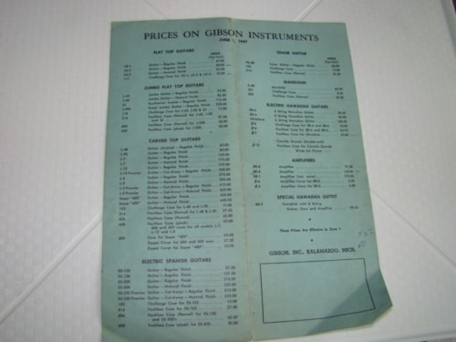1947 Gibson Price List