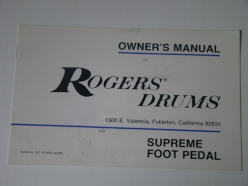 1980 Rogers Supreme Foot Pedal Owners Manual