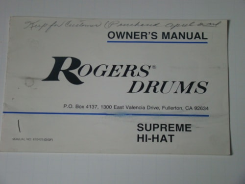 1977 Rogers Supreme Hi-Hat Owners Manual