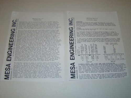 1982 Mesa Boogie Mark II-B Owners Manual