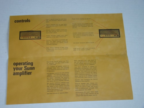 1970 Sunn® Sound Amplifier Operating Guide