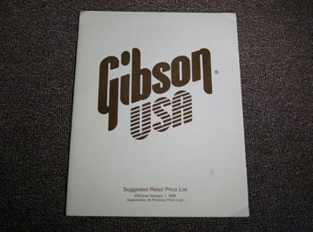 1988 Gibson Gibson Suggested Retail Price List