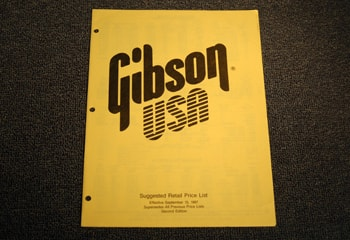1987 Gibson Gibson Suggested Retail Price List