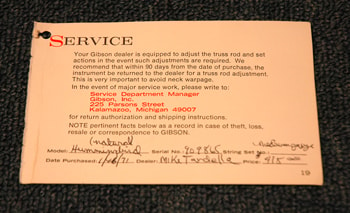 1971 Gibson Service Tag
