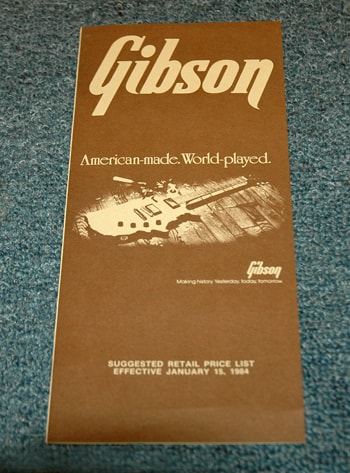 1984 Gibson Price List