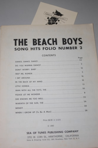 1965 Sea of Tunes Beach boys song hits