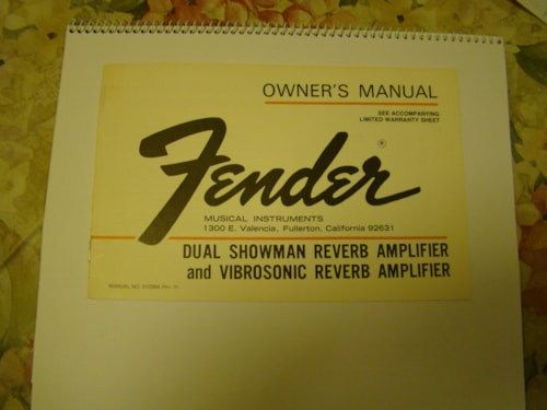 1977 Fender Vibrosonic Reverb Owners Manual