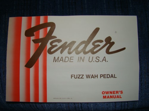 Fender Fuzz Wah Pedal Owners Manual