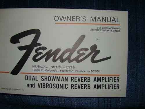 1976 Fender Dual Showman Reverb Amp Owners Manual