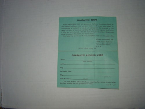 1965 DeArmond Rowe Pickup Warranty