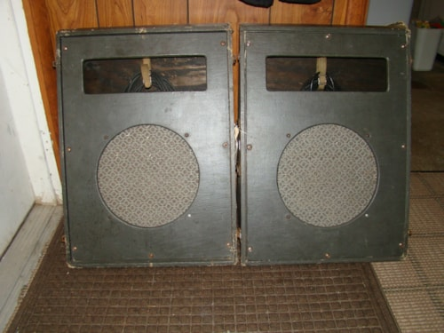 1955 Bell & Howell portable PA Cab. 2 X 12 Empty Suitcase Style