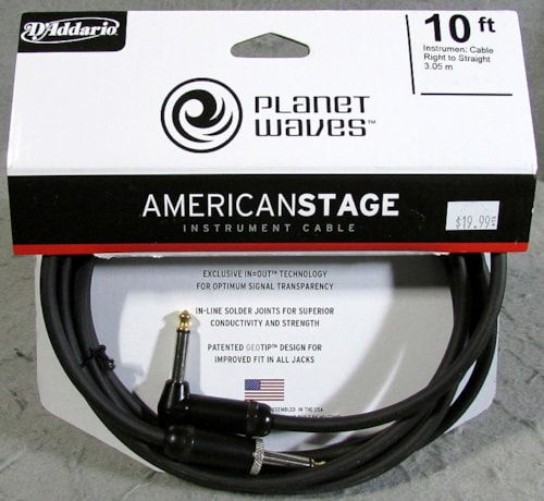 Planet Waves American Stage 10' Instrument Cable Right Angle/Straight