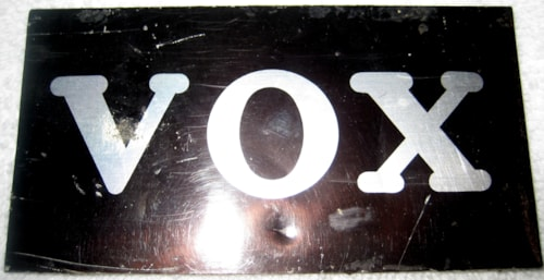 ~1967 Vox LOGO METAL 1960'S FOR ORGAN & GUITAR CASES ORGANS