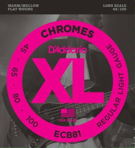 D'Addario Chromes Flatwound Bass Strings (Regular 45-100)