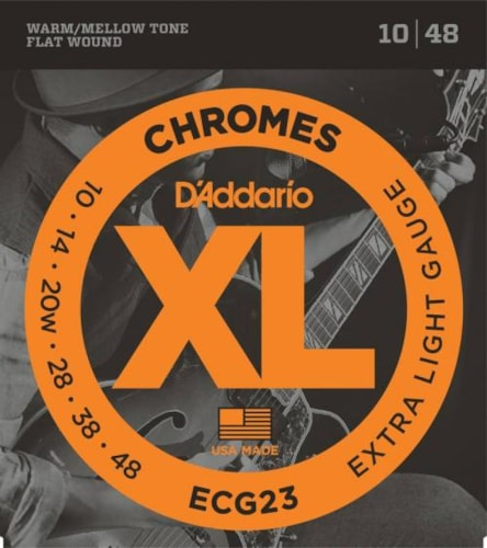 D'Addario Chromes Flatwound Electric Strings (Extra Light 10-48)