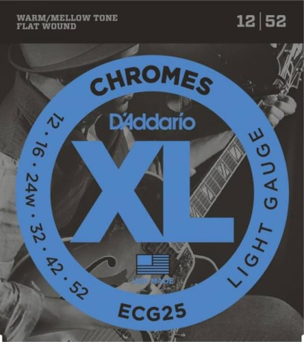 D'Addario Chromes Flatwound Electric Strings (Light 12-52)