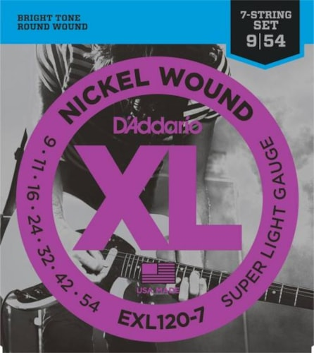 D'Addario Nickel Wound Electric 7-String Set (Super Light 9-54)