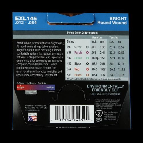 D'Addario Nickel Wound Electric Strings (Heavy 12-54)