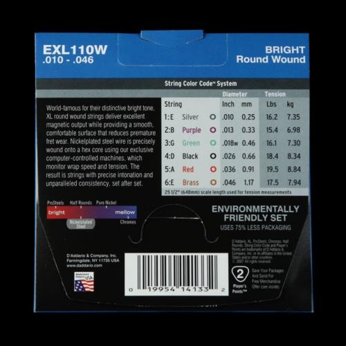 D'Addario Nickel Wound Electric Strings (Regular 10-46 Wound 3rd)