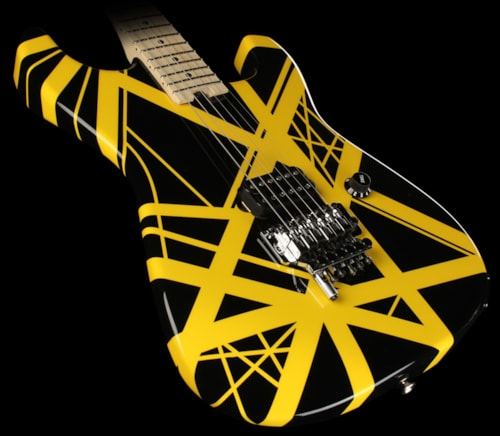 EVH Striped Series Electric Guitar Black with Yellow Stripes