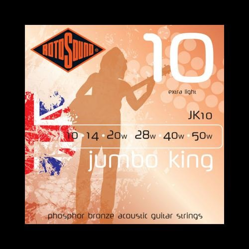 Rotosound JK10 Jumbo King Phosphor Bronze Acoustic Strings (10-50)