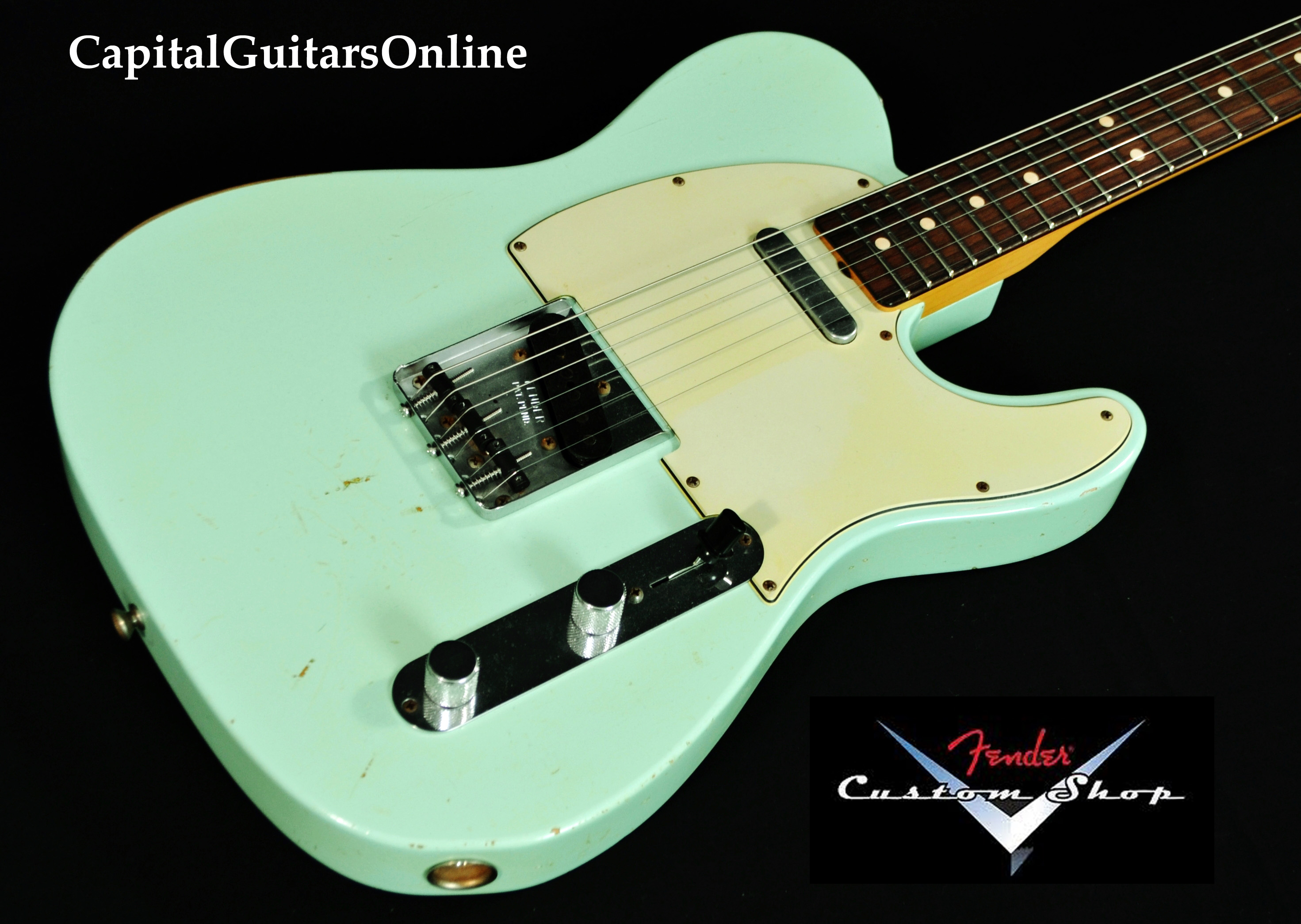 2012 fender cs  u0026 39 63 telecaster relic faded surf green