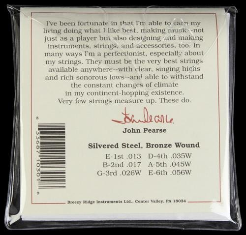 John Pearse 300M Bronze Wound Acoustic Guitar Strings Medium 80/20 Bronze 13-56