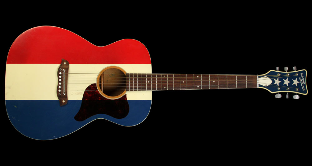 "Buck Owens America '60s Harmony F-70 Buck Owens ""American"" Acoustic Guitar Red White Blue Red"