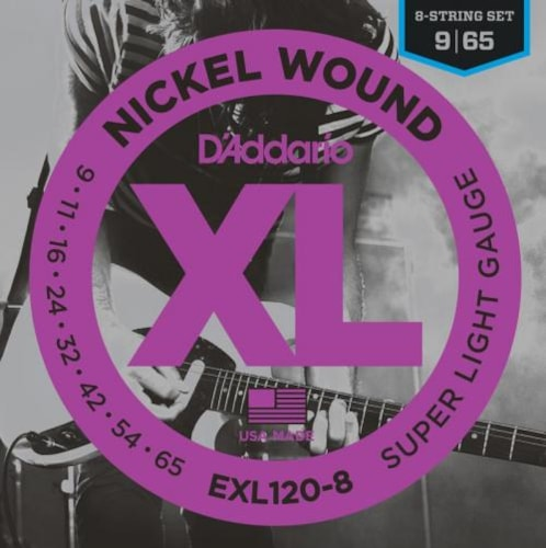 D'Addario EXL120-8 Nickel Wound 8-String Electric Guitar Strings (Super Light 9-65)