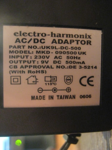 Electro-Harmonix 230 Volt UK9LDC-500 AC Adapter for Effect Pedals 9V 500ma UK