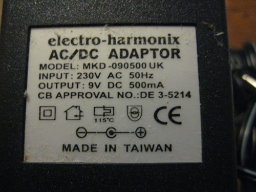 Electro-Harmonix 230 Volt UK9DC-500 AC Adapter for Effect Pedals 9V 500ma UK