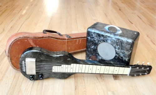 ~1950 Magnatone Lap Steel w/ Matching Amp & Case Black Pearloid Dickerson