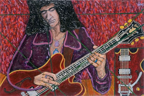 2005 Alex Mortimer Riffin' in Deep Purple. An Original Portrait of Ritchie Blac