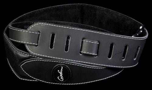 Godin Stitched Leather Padded Guitar Strap With Logo Black