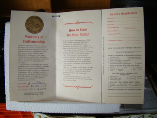 1968 Guild® Guitar Warranty