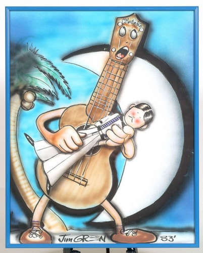 1983 ORIGINAL ARTWORK: MARTIN UKE WITH MAN, SIGNED BY JIM GREEN