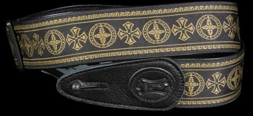 Levy's MGJ2-001 Jacquard Weave Guitar Strap Black and Gold