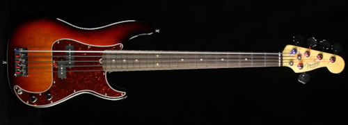 Fender® Used 2015 Fender® American Standard Precision Bass® Electric Bass Guitar Three-Tone Sunburst