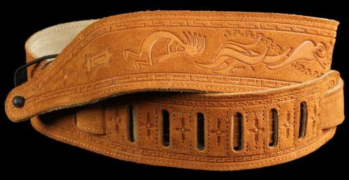 Levy's MS17T03 Tooled Suede Kokopelli Guitar Strap Honey