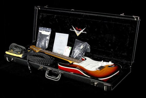 Fender® Custom Shop Used 2014 Fender® Custom Shop Double Bound Slab Body Stratocaster® Electric Guitar Three-Tone Sunburst