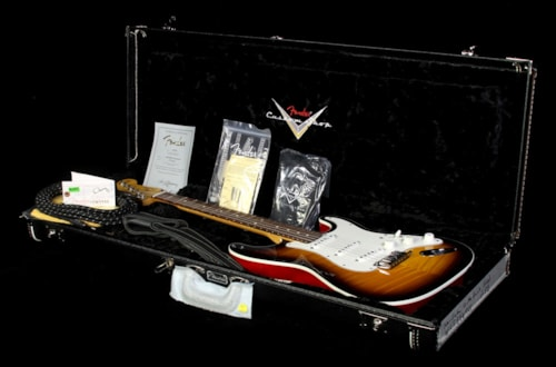 Fender® Custom Shop Used 2014 Fender® Custom Shop Double Bound Slab Body Stratocaster® Electric Guitar Two-Tone Sunburst