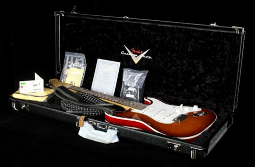 Fender Custom Shop Used 2013 Fender Custom Shop Double Bound Slab Body Stratocaster Electric Guitar Violin Burst