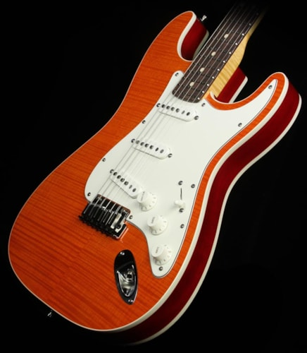 Fender® Custom Shop Used 2013 Fender® Custom Shop Double Bound Slab Body Stratocaster® Electric Guitar Transparent Orange