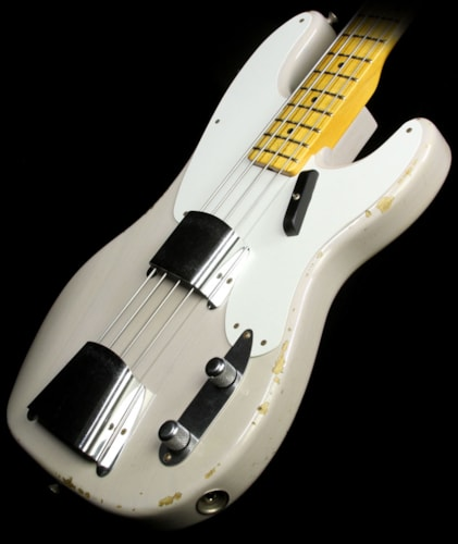 Fender® Custom Shop Limited Edition Relic® 1955 Precision Bass® Electric Bass Guitar Dirty White Blonde