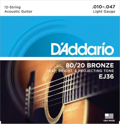 D'Addario 80/20 Bronze Acoustic 12-String Set (Light 10-47)