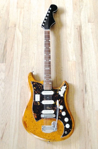 ~1965 Norma / Tombo Model 480-3 Vintage Electric Guitar Gold Sparkle Japan