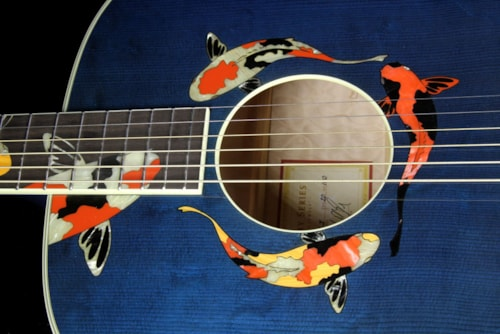 Taylor Used 2000 Taylor Limited Edition Gallery Series Living Jewels Koi Dreadnought Acoustic Guitar Aqua Blue Transparent