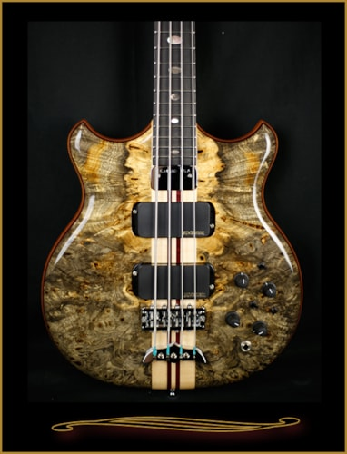 Alembic Stanley Clarke Deluxe in Buckeye Burl with Side LEDs